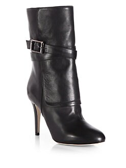 Jimmy Choo - Ballad Textured Leather Mid-Calf Boots