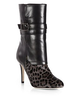 Jimmy Choo - Ballad Leopard-Print Pony Hair & Leather Mid-Calf Boots