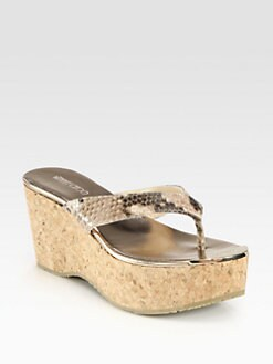 Jimmy Choo - Pathos Snake-Print Leather Cork Wedge Sandals