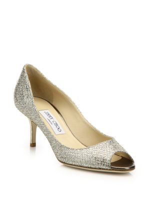 Isabel 65 Glitter Peep Toe Pumps