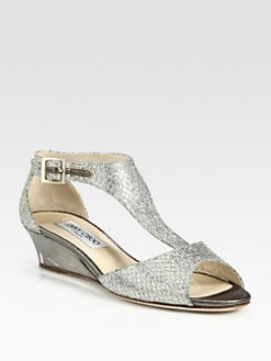 Jimmy Choo - Treat Glitter T-Strap Wedge Sandals