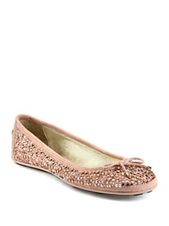 Jimmy Choo - Weber Crystal-Coated Suede Ballet Flats