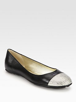 Jimmy Choo - Wrena Crystal-Encrusted Leather Ballet Flats