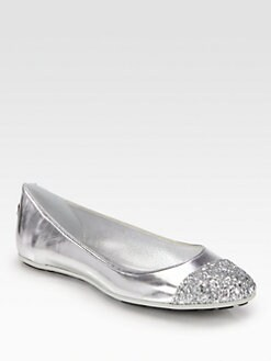 Jimmy Choo - Whirl Glitter Mirror Leather Ballet Flats