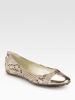 Jimmy Choo - Whirl Snake-Print Leather & Metallic Leather Ballet Flats