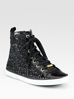 Jimmy Choo - Destin Glitter & Patent Leather High Top Sneakers