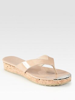 Jimmy Choo - Pence Patent Leather Cork Wedge Sandals