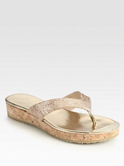 Jimmy Choo - Pence Glitter Cork Wedge Sandals