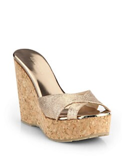 Jimmy Choo - Perfume Glitter Cork Wedge Sandals