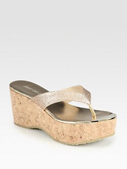Jimmy Choo - Pathos Glitter Cork Wedge Sandals