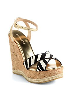 Jimmy Choo - Papahi Zebra-Print Pony Hair Cork Wedge Sandals