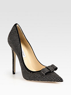Jimmy Choo - Maya Studded Suede Bow Pumps