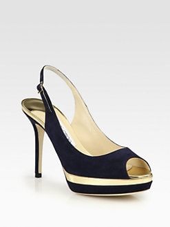 Jimmy Choo - Cupcake Suede & Mirror Leather Slingback Pumps