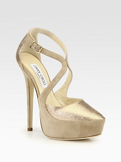 Jimmy Choo - Tamika Glitter & Suede Crossover Platform Pumps