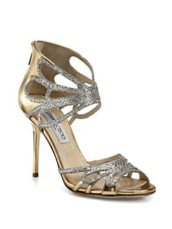Jimmy Choo - Melody Glitter & Metallic Leather Sandals