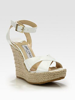 Jimmy Choo - Pheonix Patent Leather Espadrille Wedge Sandals