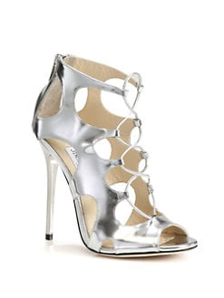 Jimmy Choo - Diffuse Metallic Leather Lace-Up Sandals