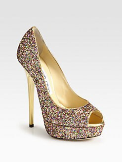 Jimmy Choo - Vibe Glitter Platform Pumps