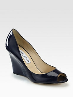 Jimmy Choo - Baxen Patent Leather Wedge Pumps