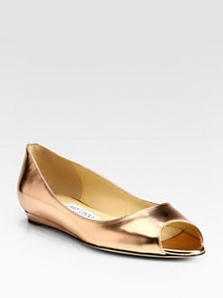 Jimmy Choo - Beck Metallic Leather Ballet Flats