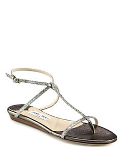 Jimmy Choo - Fiona Glitter T-Strap Sandals