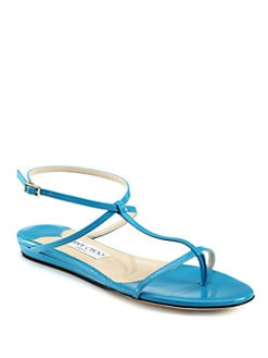 Jimmy Choo - Fiona Patent Leather T-Strap Sandals