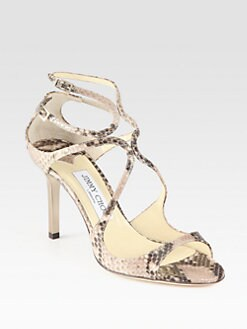 Jimmy Choo - Ivette Snake-Print Leather Sandals