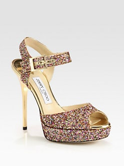 Jimmy Choo - Linda Glitter Platform Sandals
