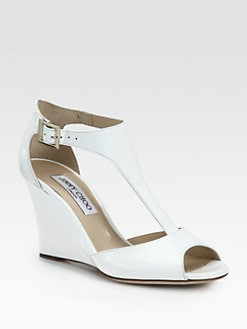 Jimmy Choo - Token Patent Leather T-Strap Wedge Sandals