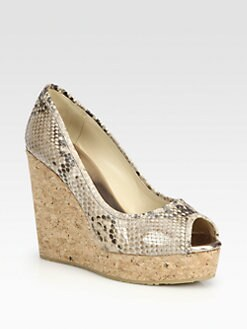 Jimmy Choo - Papina Snake-Print Leather Cork Wedge Pumps