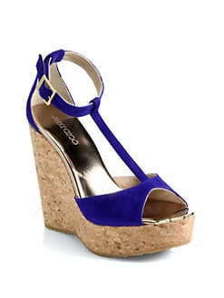 Jimmy Choo - Pela Suede T-Strap Cork Wedge Sandals