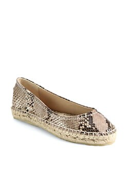 Jimmy Choo - Pow Snake-Print Leather Espadrille Ballet Flats