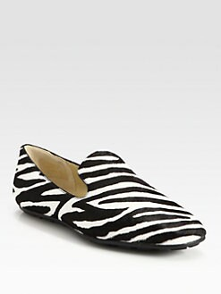 Jimmy Choo - Wheel Zebra-Print Pony Hair Smoking Slippers