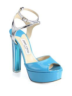 Jimmy Choo - Lolita Patent & Metallic Leather Platform Sandals