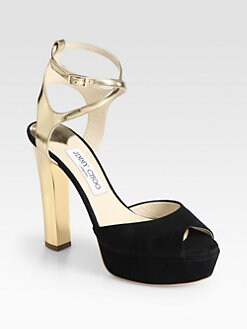 Jimmy Choo - Lyddie Suede & Metallic Leather Platform Sandals