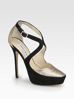 Jimmy Choo - Tulip Glitter & Suede Platform Pumps