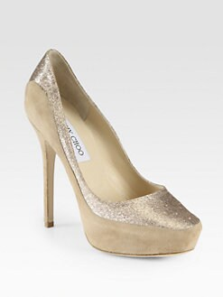Jimmy Choo - Sepia Suede & Glitter Platform Pumps