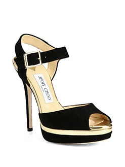 Jimmy Choo - Pavlova Suede & Metallic Leather Platform Sandals