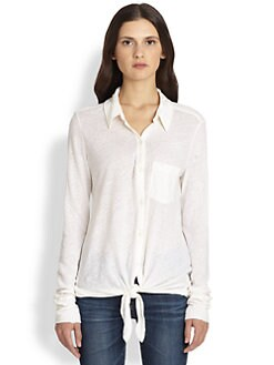 Soft Joie - Macyn Tie-Front Cotton & Linen Shirt