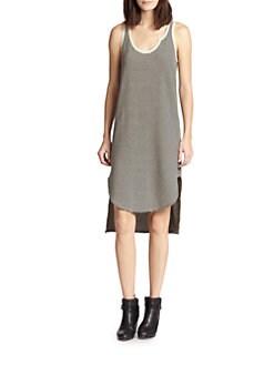 Wilt - Striped Cotton & Linen Hi-Lo Dress