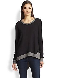 Wilt - Contrast-Trimmed Asymmetrical Cotton Slub Top
