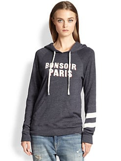 SUNDRY - Bon Soir Paris Printed Hooded Sweatshirt