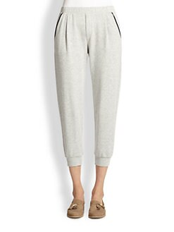 Splendid - Faux Leather-Trimmed Cropped Sweatpants