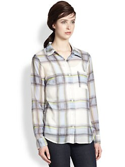 Splendid - Plaid Sheer Button-Down Shirt