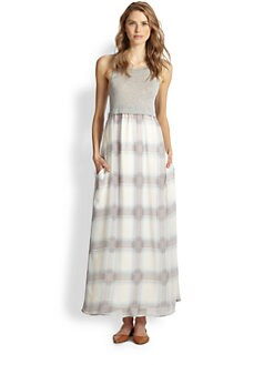 Splendid - Jersey-Top Plaid Chiffon Maxi Dress