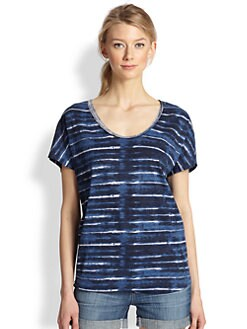 Soft Joie - Diamond Tie-Dye Striped Cotton Tee