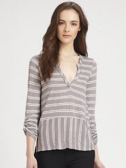 Splendid - Striped Placket Top