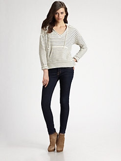 Soft Joie - Evita Striped Cotton Hoodie