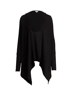 Splendid - Hooded Draped Thermal Cardigan
