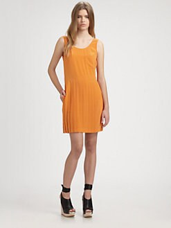 Steven Alan - Tristan Pleated Silk V-Back Dress